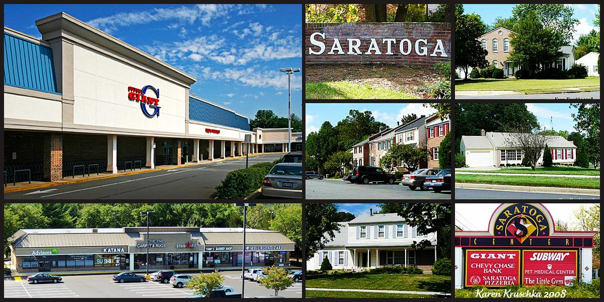 Montage of Saratoga Shopping Center.